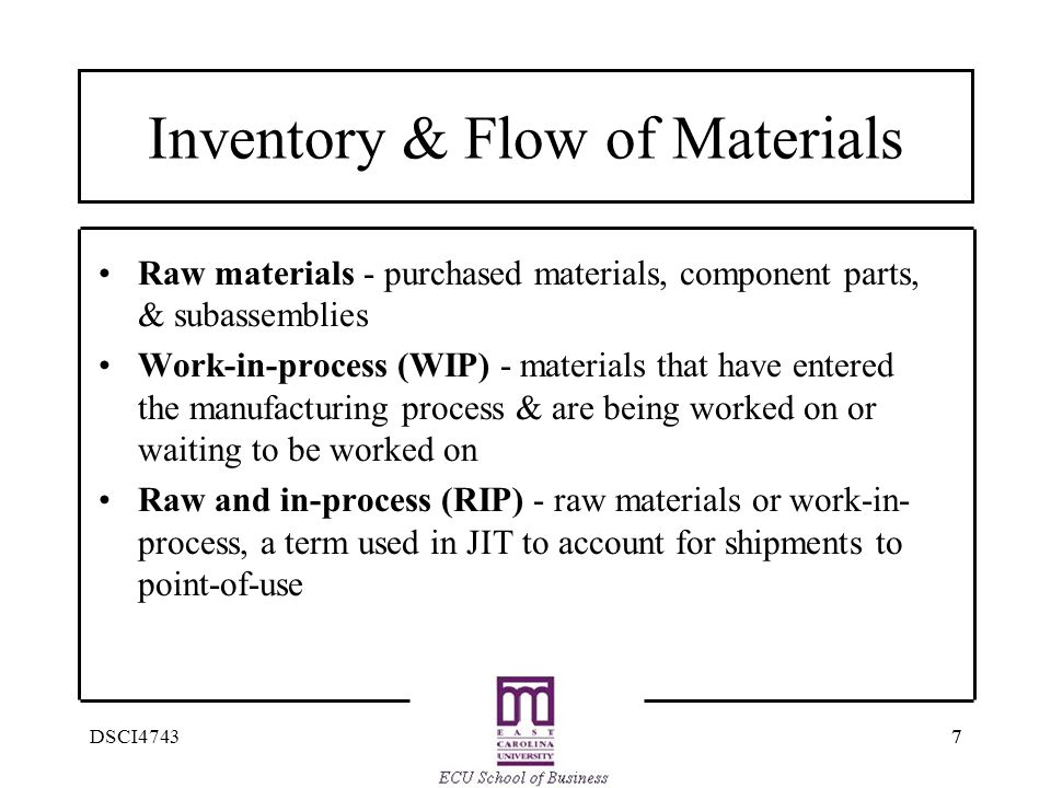 77DSCI4743 Inventory & Flow of Materials Raw materials - purchased materials, component parts, & subassemblies Work-in-process (WIP) - materials that