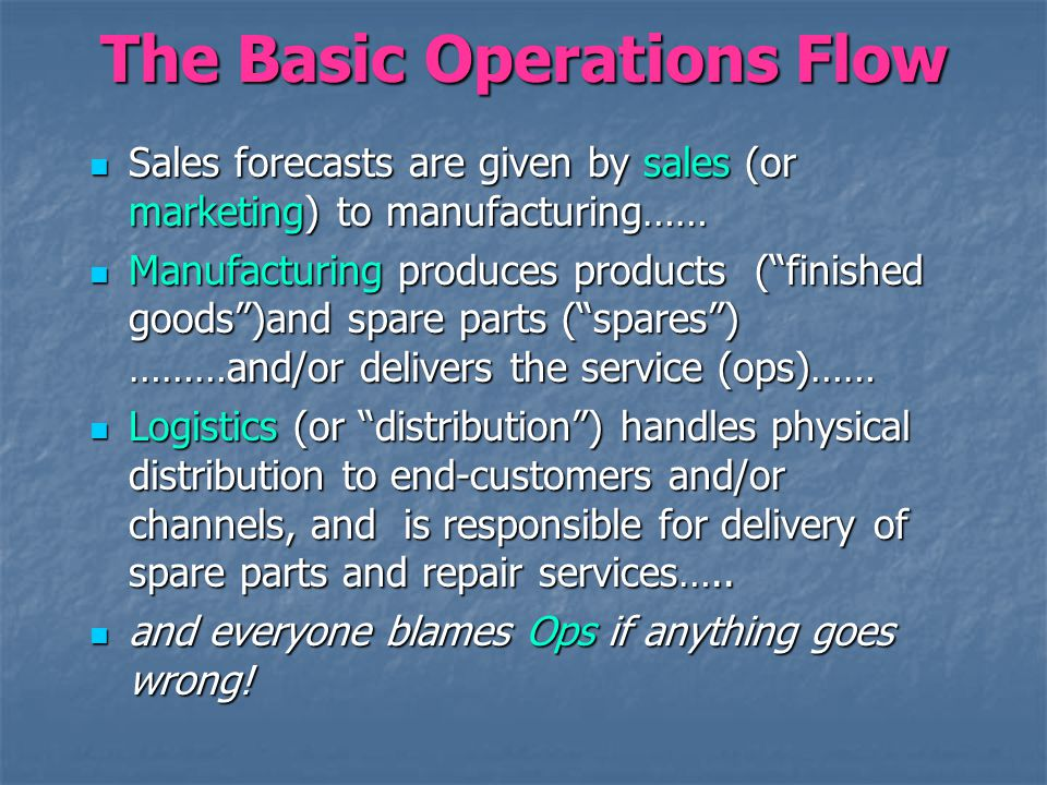 The Basic Operations Flow Sales forecasts are given by sales (or marketing) to manufacturing…… Sales forecasts are given by sales (or marketing) to ma
