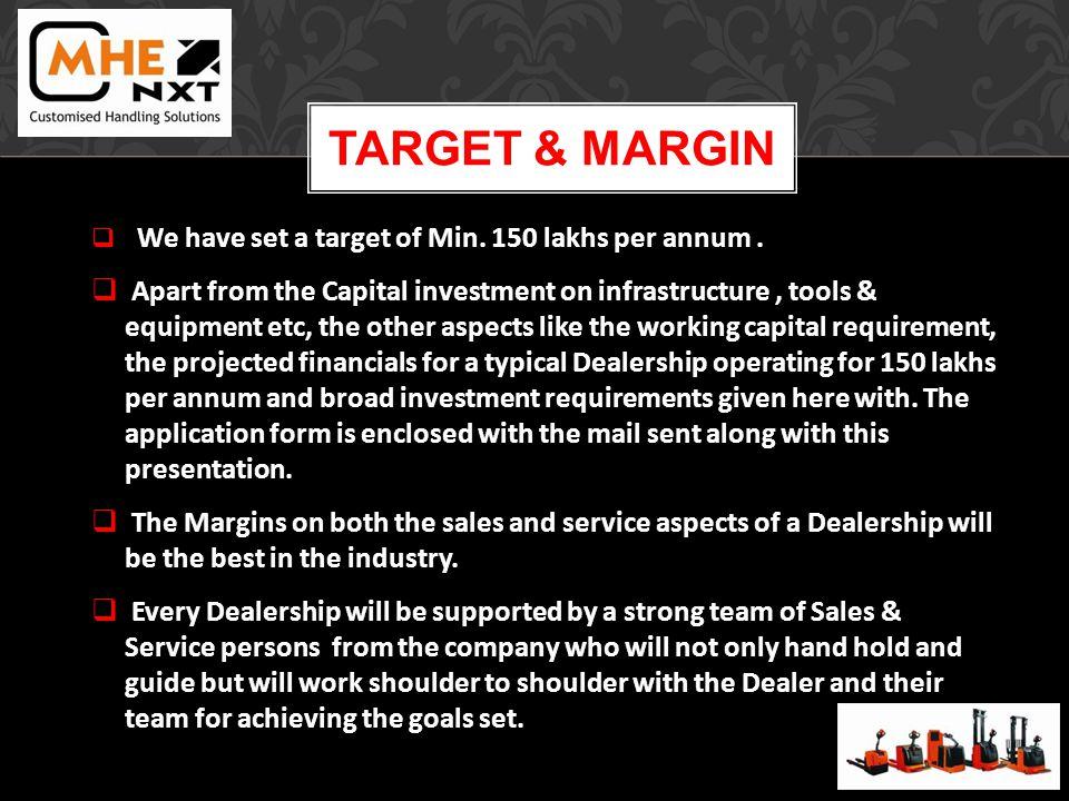 TARGET & MARGIN We have set a target of Min. 150 lakhs per annum.