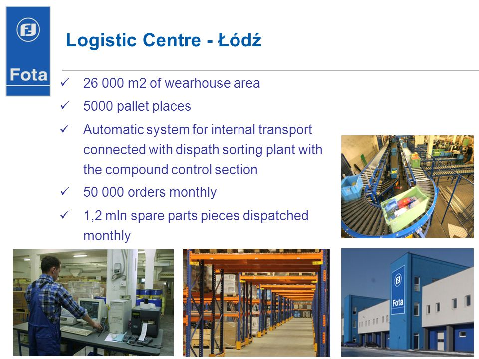 Logistic Centre - Łódź 26 000 m2 of wearhouse area 5000 pallet places Automatic system for internal transport connected with dispath sorting plant wit