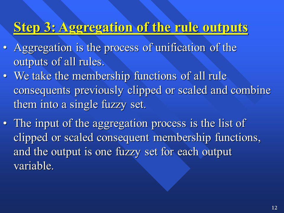 12 Step 3: Aggregation of the rule outputs Aggregation is the process of unification of the outputs of all rules.Aggregation is the process of unifica
