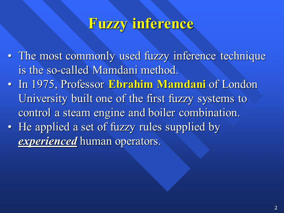 2 Fuzzy inference The most commonly used fuzzy inference technique is the so-called Mamdani method.The most commonly used fuzzy inference technique is
