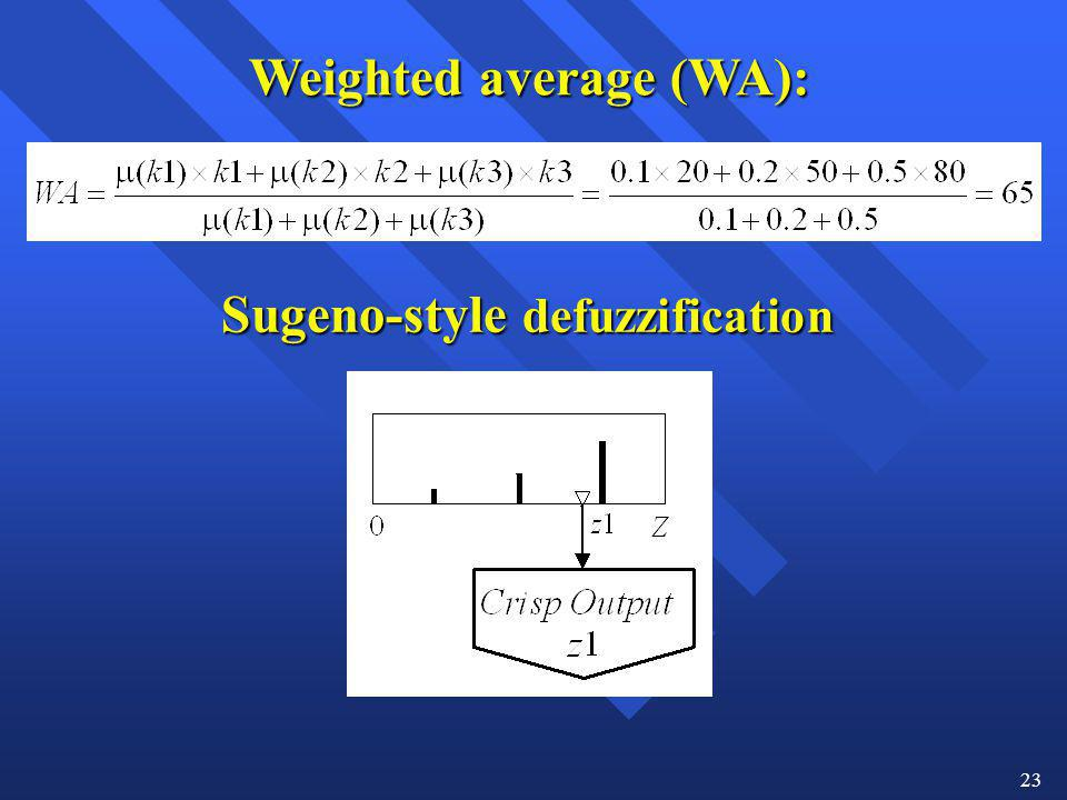 23 Weighted average (WA): Sugeno-style defuzzification
