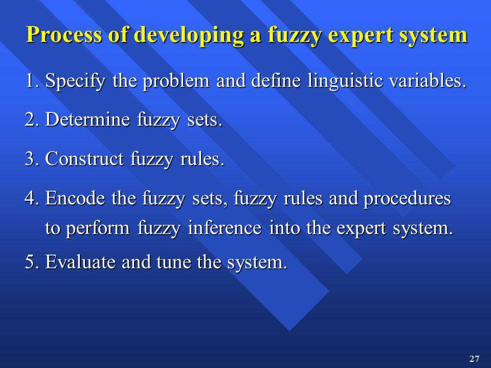 27 Process of developing a fuzzy expert system 1. Specify the problem and define linguistic variables. 2. Determine fuzzy sets. 3. Construct fuzzy rul