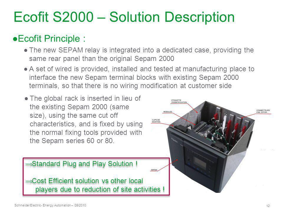 Schneider Electric 12 - Energy Automation – 09/2010 Ecofit S2000 – Solution Description Ecofit Principle : The new SEPAM relay is integrated into a de