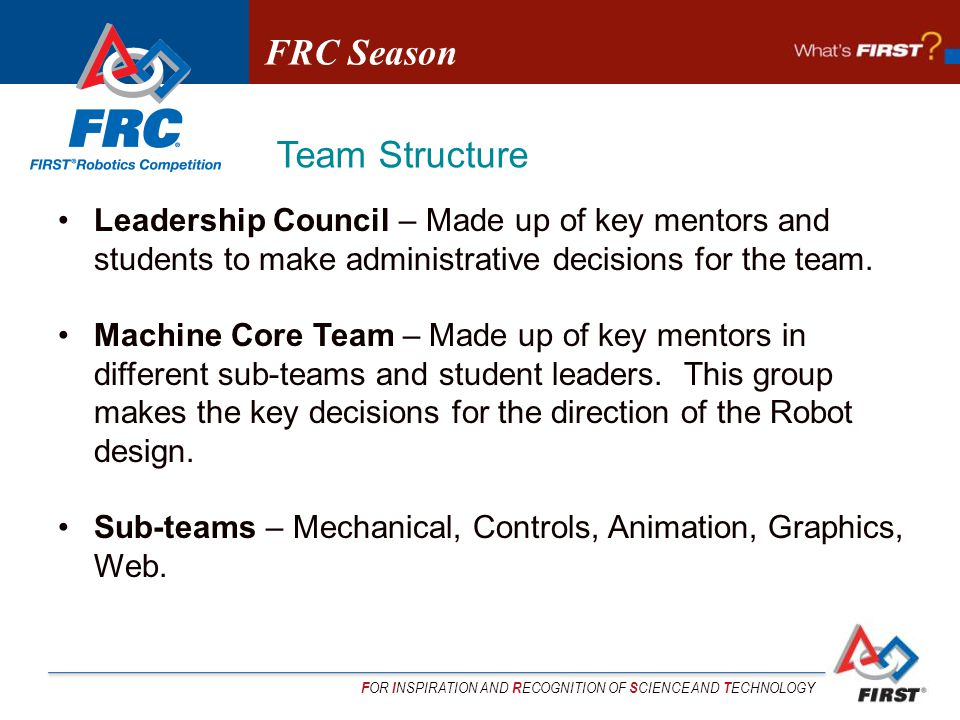F OR I NSPIRATION AND R ECOGNITION OF S CIENCE AND T ECHNOLOGY Leadership Council – Made up of key mentors and students to make administrative decisions for the team.