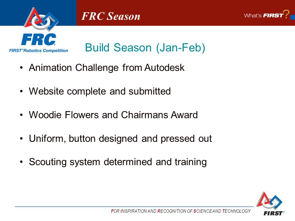 F OR I NSPIRATION AND R ECOGNITION OF S CIENCE AND T ECHNOLOGY Animation Challenge from Autodesk Website complete and submitted Woodie Flowers and Chairmans Award Uniform, button designed and pressed out Scouting system determined and training FRC Season Build Season (Jan-Feb)