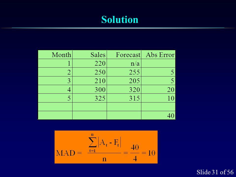 Slide 31 of 56 SolutionSolution MonthSalesForecastAbs Error 1220n/a 22502555 32102055 430032020 532531510 40
