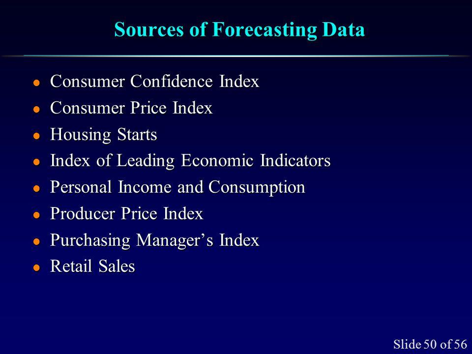Slide 50 of 56 Sources of Forecasting Data l Consumer Confidence Index l Consumer Price Index l Housing Starts l Index of Leading Economic Indicators