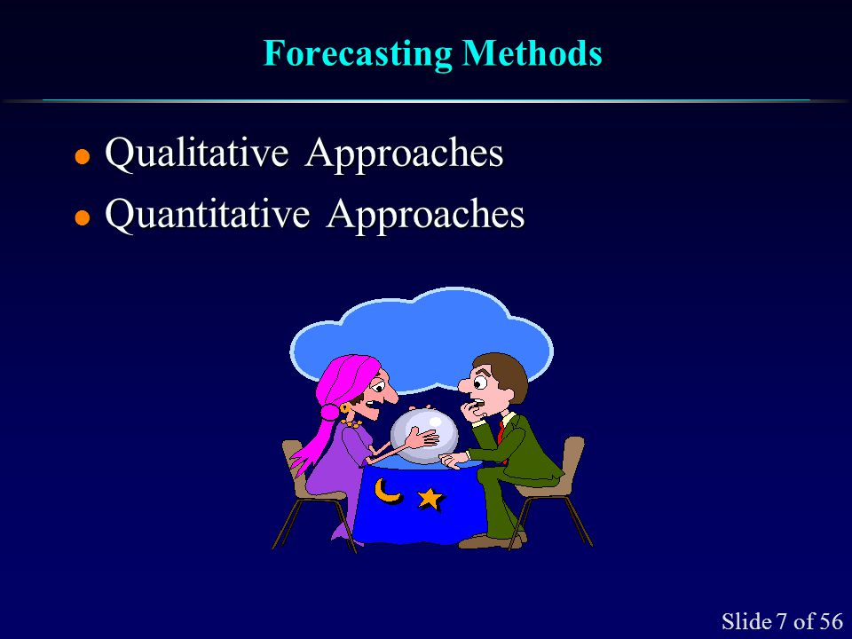 Slide 38 of 56 Weighted Moving Average l The weights must add to 1.0 and generally decrease in value with the age of the data l The distribution of the weights determine impulse response of the forecast