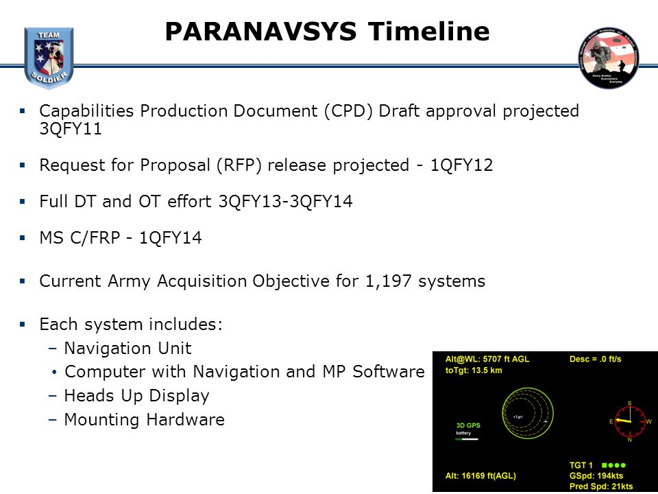 PARANAVSYS Timeline Capabilities Production Document (CPD) Draft approval projected 3QFY11 Request for Proposal (RFP) release projected - 1QFY12 Full