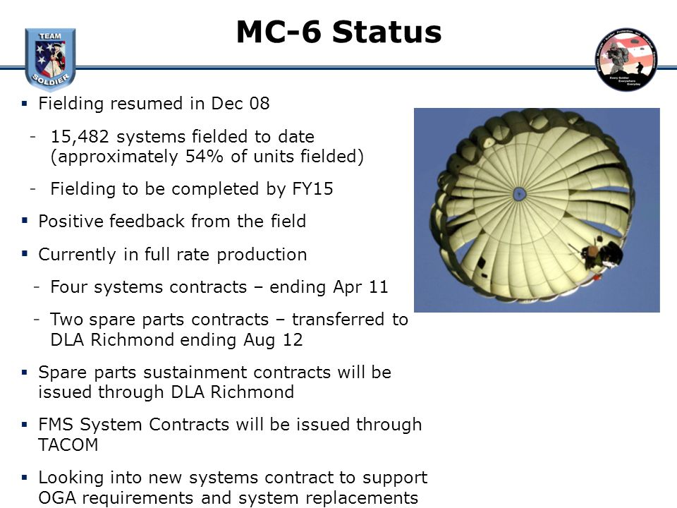 MC-6 Status Fielding resumed in Dec 08 ­15,482 systems fielded to date (approximately 54% of units fielded) ­Fielding to be completed by FY15 Positive