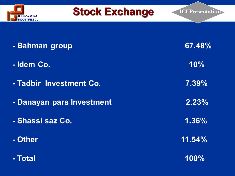 1 IRAN CASTING INDUSTRIES Co. ICI Presentation Stock Exchange - Bahman group 67.48% - Idem Co. 10% - Tadbir Investment Co. 7.39% - Danayan pars Invest