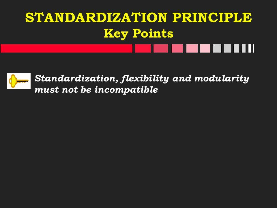STANDARDIZATION PRINCIPLE Key Points Standardization, flexibility and modularity must not be incompatible