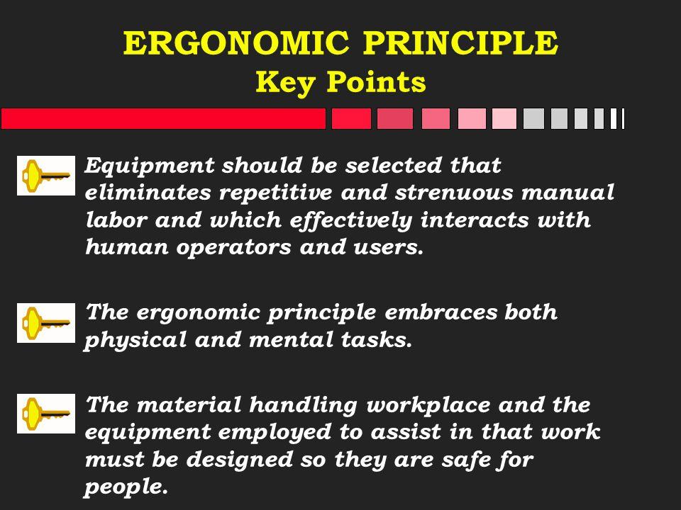 ERGONOMIC PRINCIPLE Key Points Equipment should be selected that eliminates repetitive and strenuous manual labor and which effectively interacts with