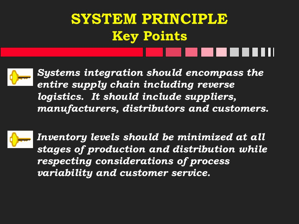 SYSTEM PRINCIPLE Key Points Systems integration should encompass the entire supply chain including reverse logistics. It should include suppliers, man