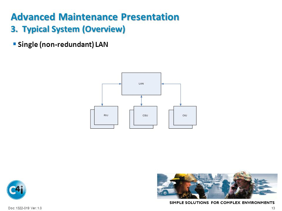 SIMPLE SOLUTIONS FOR COMPLEX ENVIRONMENTS Presentation Template 356-094 Version: 4.0 Advanced Maintenance Presentation 3. Typical System (Overview) Si