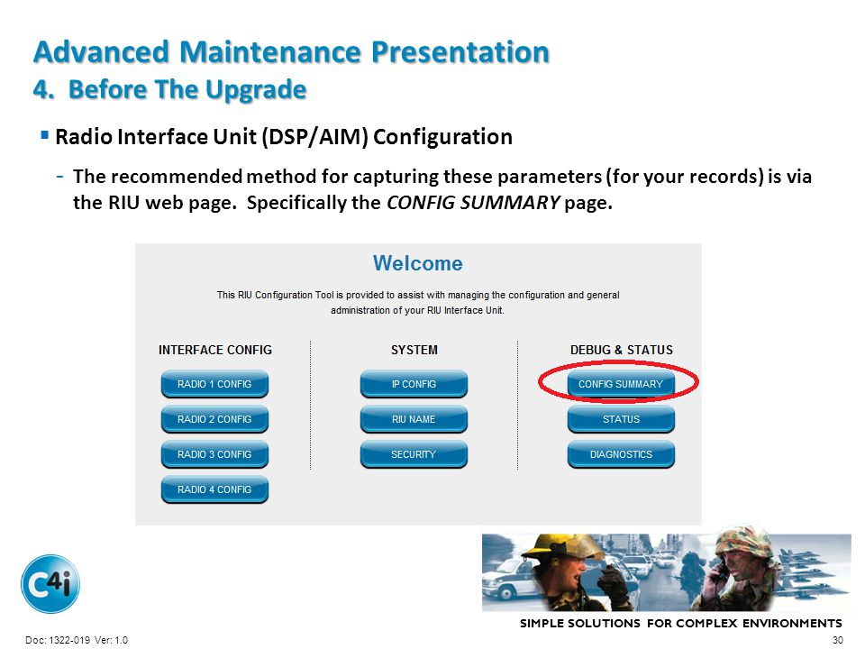 SIMPLE SOLUTIONS FOR COMPLEX ENVIRONMENTS Presentation Template 356-094 Version: 4.0 Advanced Maintenance Presentation 4. Before The Upgrade Radio Int