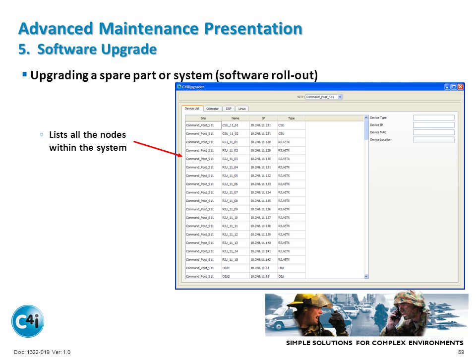 SIMPLE SOLUTIONS FOR COMPLEX ENVIRONMENTS Presentation Template 356-094 Version: 4.0 Upgrading a spare part or system (software roll-out) Advanced Mai