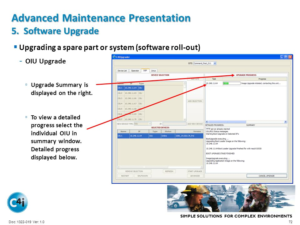 SIMPLE SOLUTIONS FOR COMPLEX ENVIRONMENTS Presentation Template 356-094 Version: 4.0 Upgrading a spare part or system (software roll-out) - OIU Upgrad