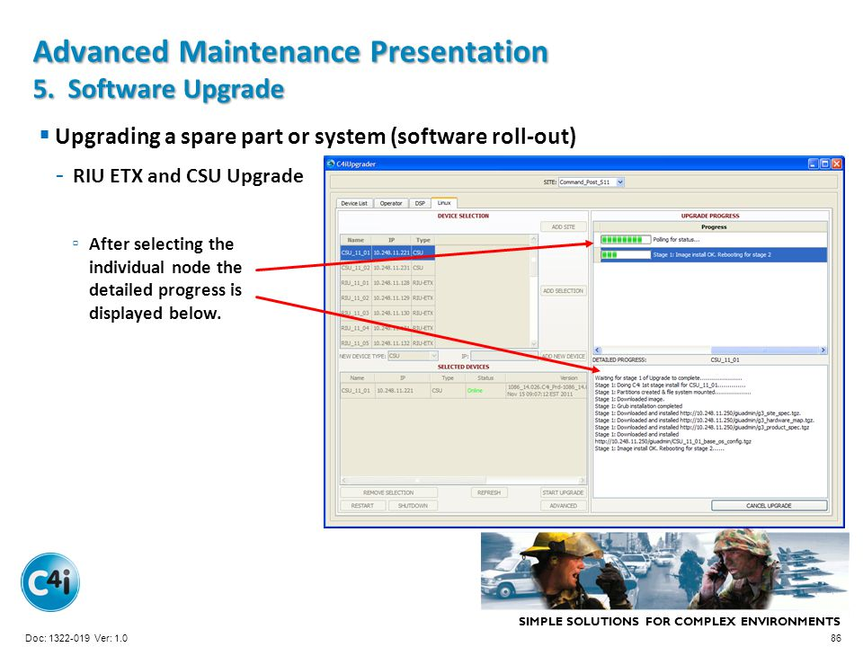 SIMPLE SOLUTIONS FOR COMPLEX ENVIRONMENTS Presentation Template 356-094 Version: 4.0 Upgrading a spare part or system (software roll-out) - RIU ETX an