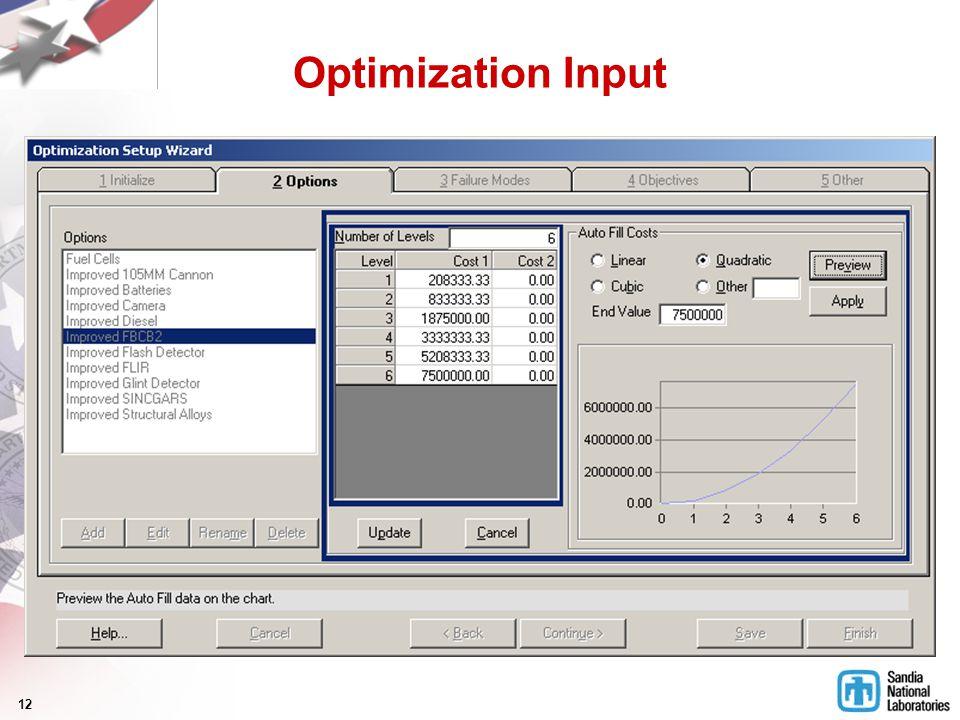 12 Optimization Input