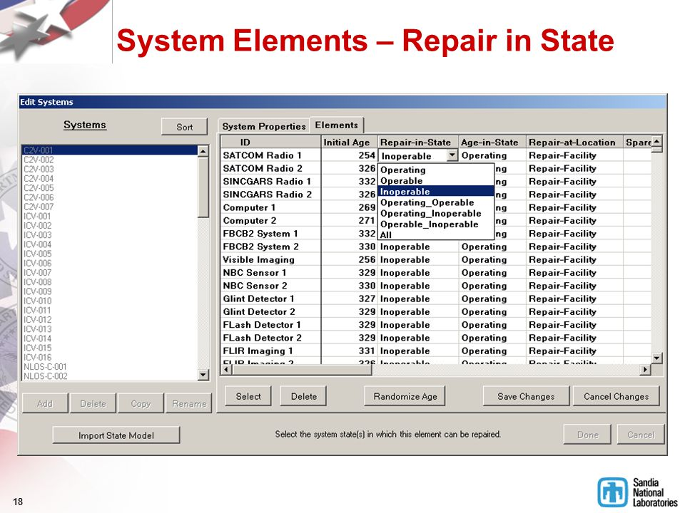 18 System Elements – Repair in State