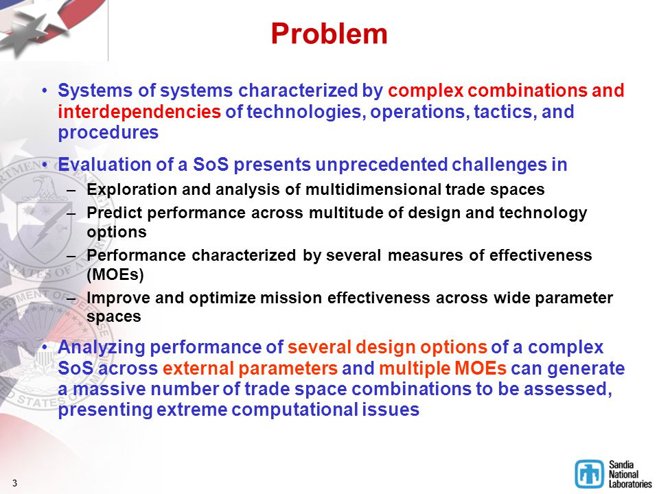 3 Problem Systems of systems characterized by complex combinations and interdependencies of technologies, operations, tactics, and procedures Evaluati