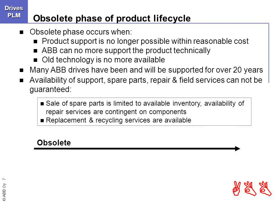 © ABB Oy 7 ABBDrivesLCMDrivesPLM Obsolete phase of product lifecycle Obsolete phase occurs when: Product support is no longer possible within reasonable cost ABB can no more support the product technically Old technology is no more available Many ABB drives have been and will be supported for over 20 years Availability of support, spare parts, repair & field services can not be guaranteed: Obsolete Sale of spare parts is limited to available inventory, availability of repair services are contingent on components Replacement & recycling services are available
