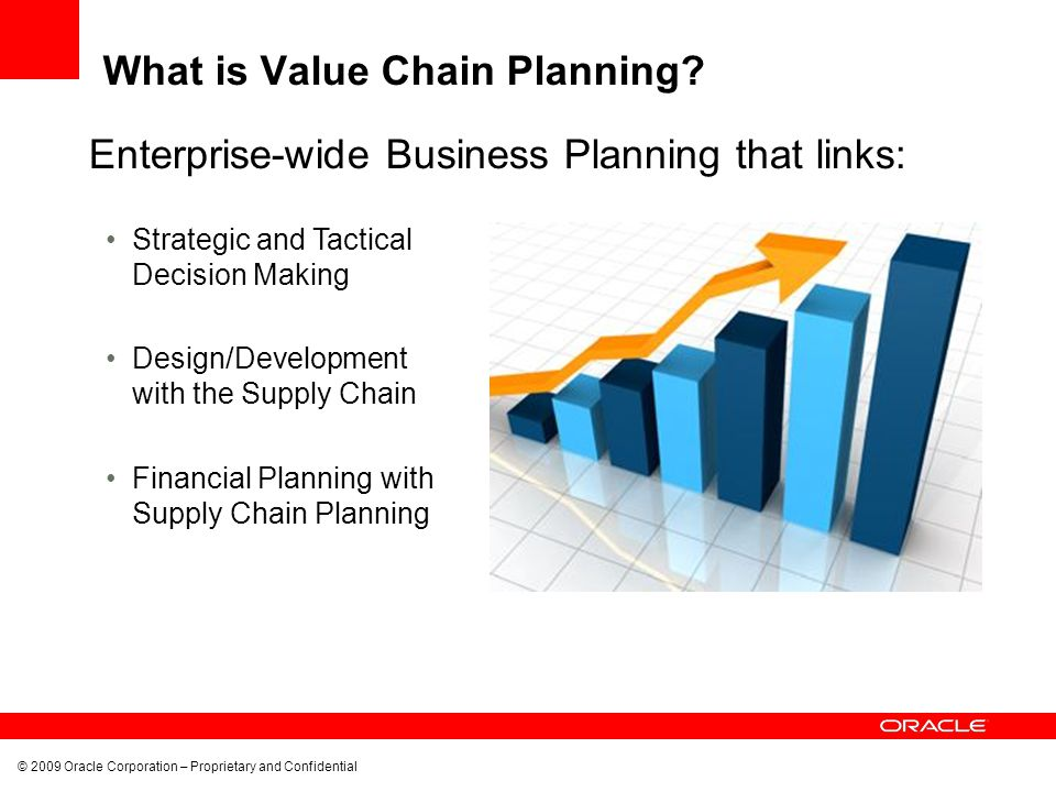 © 2009 Oracle Corporation – Proprietary and Confidential Oracle Value Chain Planning Solution Complete, best-in-class e-business planning process platform Demand Signal Management Demand Management Collaboration and Vendor Managed Inventory Plant Scheduling and Monitoring Order Promising Service Parts Planning Trade Promotion Management Supply and Distribution Planning Risk Management Sales and Operations Planning Performance Management Single source of truth Integrated with ERP SOA enabled