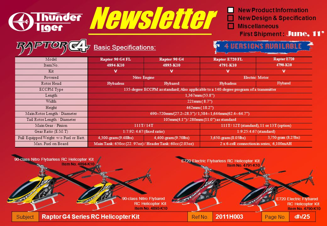 New Product Information New Design & Specification Miscellaneous First Shipment : June, 11 Subject Raptor G4 Series RC Helicopter Kit Ref No. 2011H003