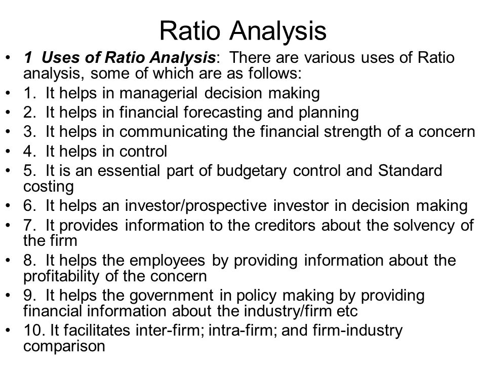 Ratio Analysis 3.