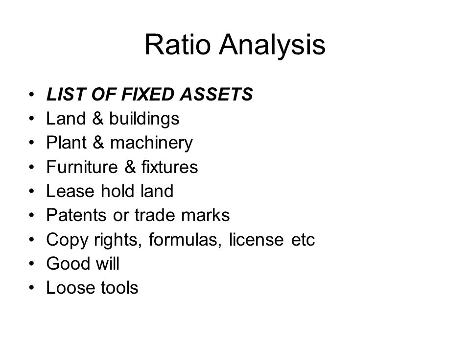 Ratio Analysis 4.