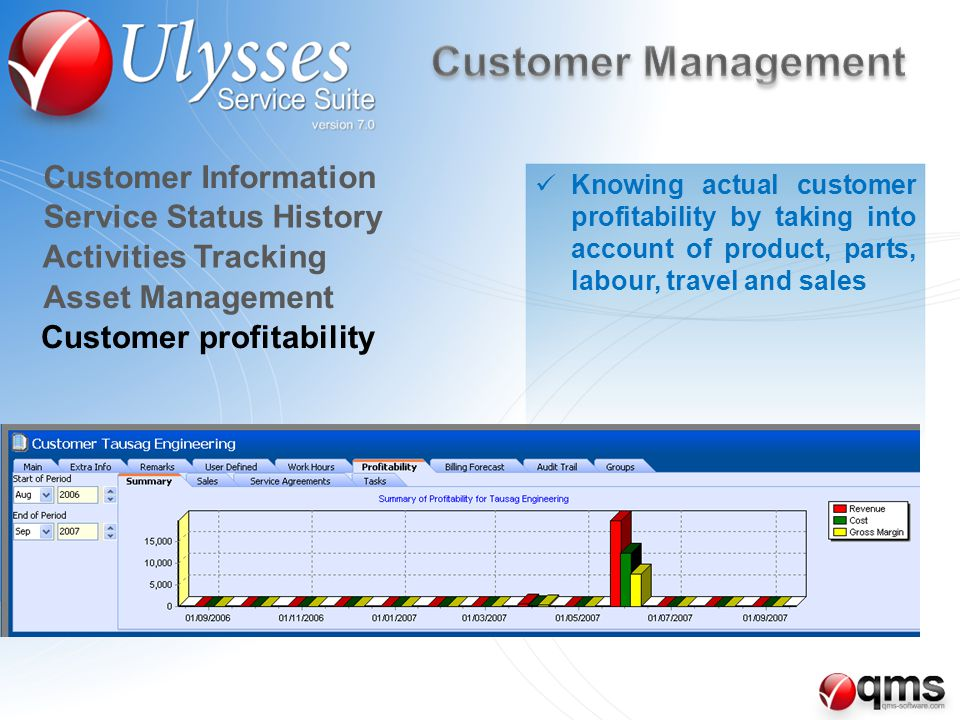 Customer profitability Asset Management Customer Information Service Status History Activities Tracking Knowing actual customer profitability by taking into account of product, parts, labour, travel and sales