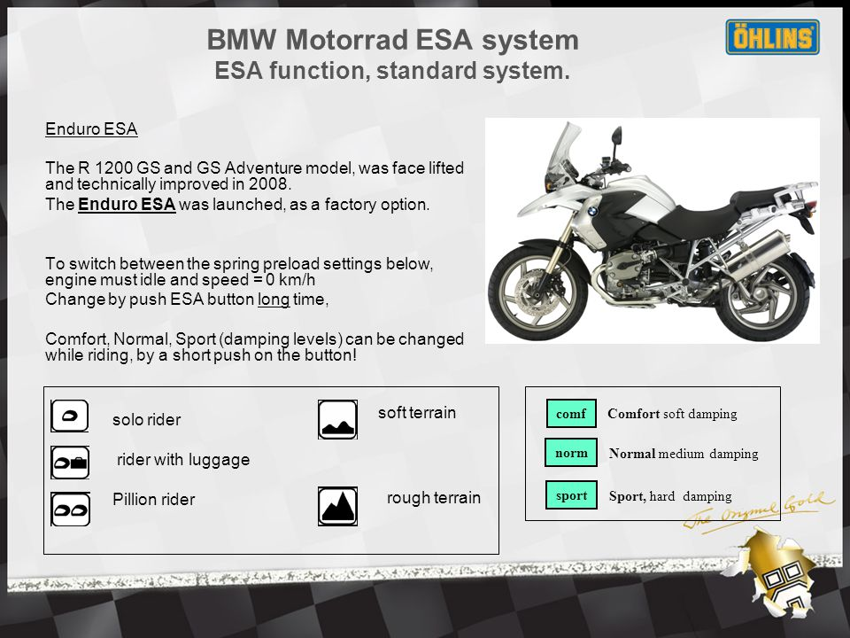 Enduro ESA The R 1200 GS and GS Adventure model, was face lifted and technically improved in 2008.