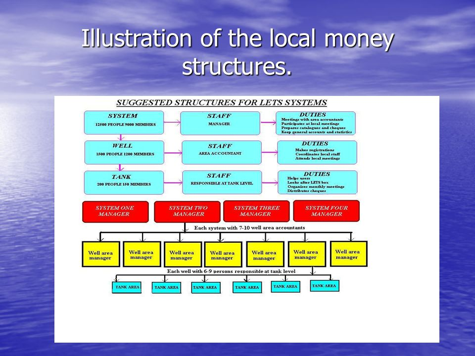 Illustration of the local money structures.