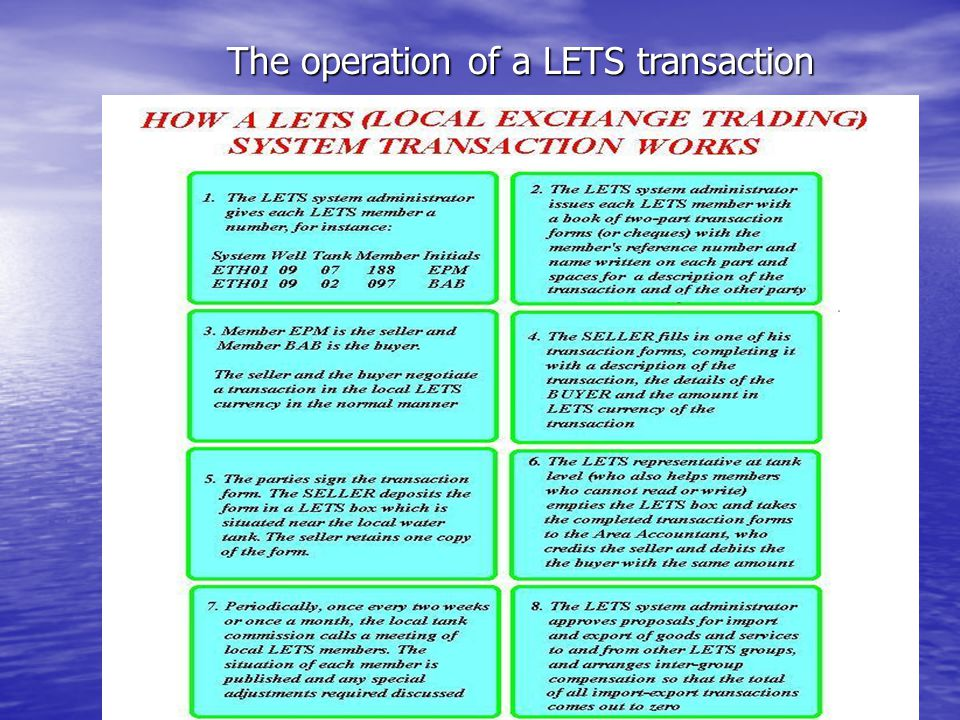 The operation of a LETS transaction The operation of a LETS transaction