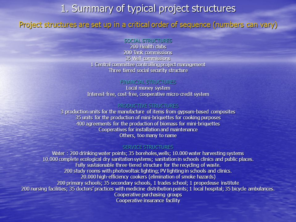 Productive structures: Installation and maintenance cooperatives All project structures are installed, operated, and maintained under the local money system.