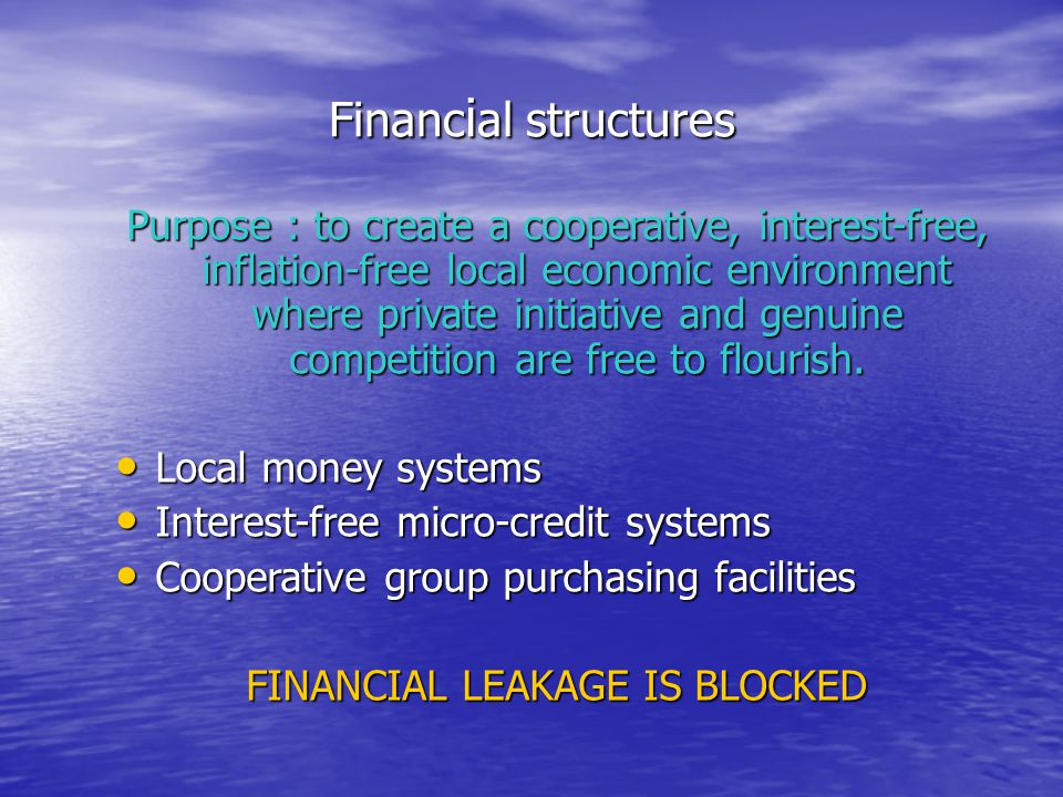 Financ i al structures Purpose : to create a cooperative, interest-free, inflation-free local economic environment where private initiative and genuin