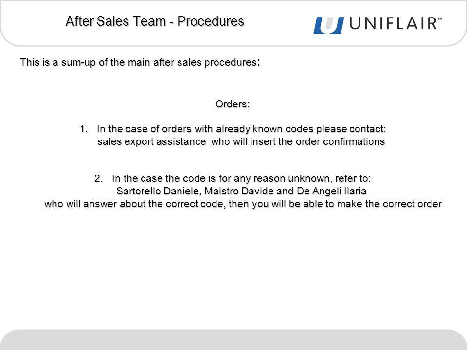 This is a sum-up of the main after sales procedures : Orders: 1.In the case of orders with already known codes please contact: sales export assistance