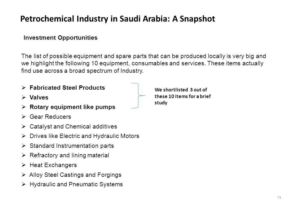 Petrochemical Industry in Saudi Arabia: A Snapshot Investment Opportunities The list of possible equipment and spare parts that can be produced locall
