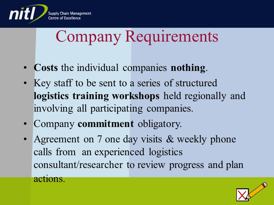 Company Requirements Costs the individual companies nothing.