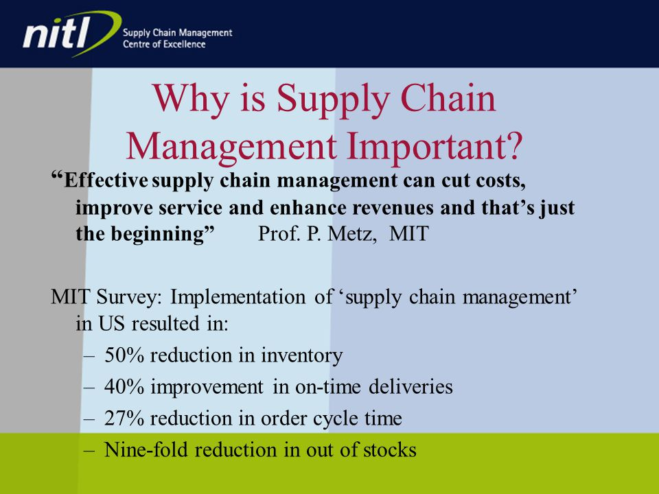 Why is Supply Chain Management Important.