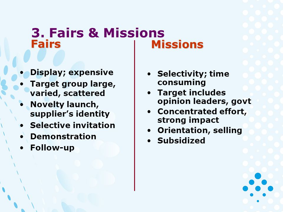 3. Fairs & Missions Display; expensive Target group large, varied, scattered Novelty launch, suppliers identity Selective invitation Demonstration Fol