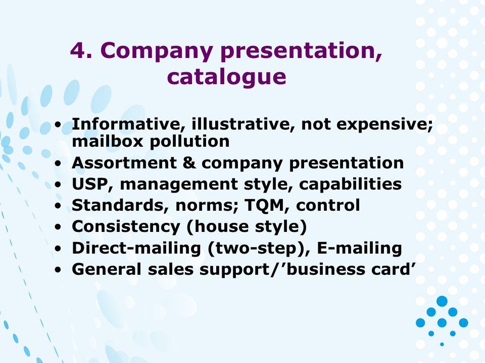 4. Company presentation, catalogue Informative, illustrative, not expensive; mailbox pollution Assortment & company presentation USP, management style