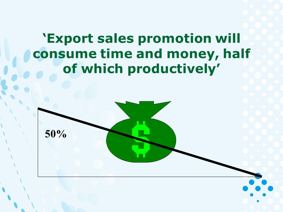 Export sales promotion will consume time and money, half of which productively 50%