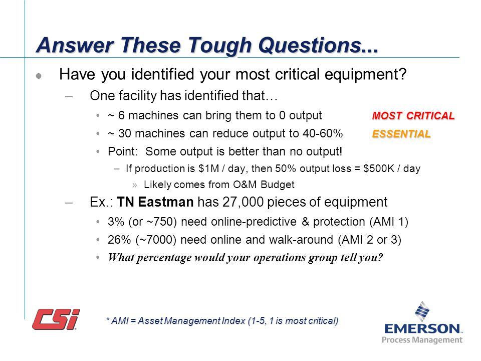 Answer These Tough Questions... What are your Key Performance Indicators (KPI)? –# failures, MTBF/MTBM –Cost of Repairs, Avg. Repair Cost, –Maintenanc