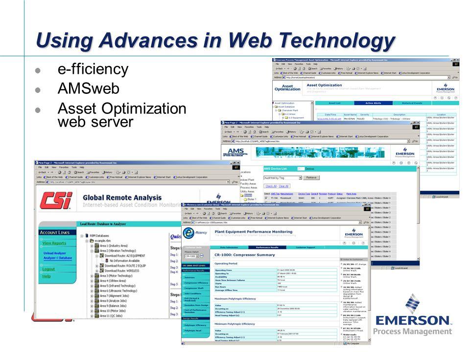 AMS AO Web Services AMSweb RBMware AO Web Services RBMweb e-fficiency AO Web Services Emerson Asset Optimization Architecture phase1 Data Collector Asset Optimization Server AOweb