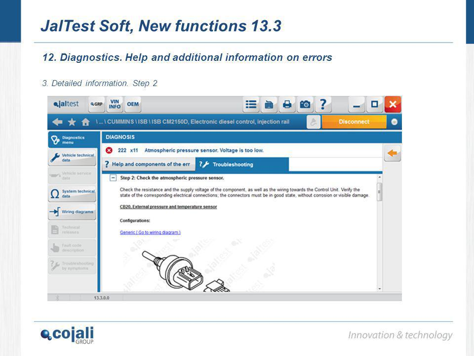 JalTest Soft, New functions 13.3 12. Diagnostics. Help and additional information on errors 3. Detailed information. Step 2