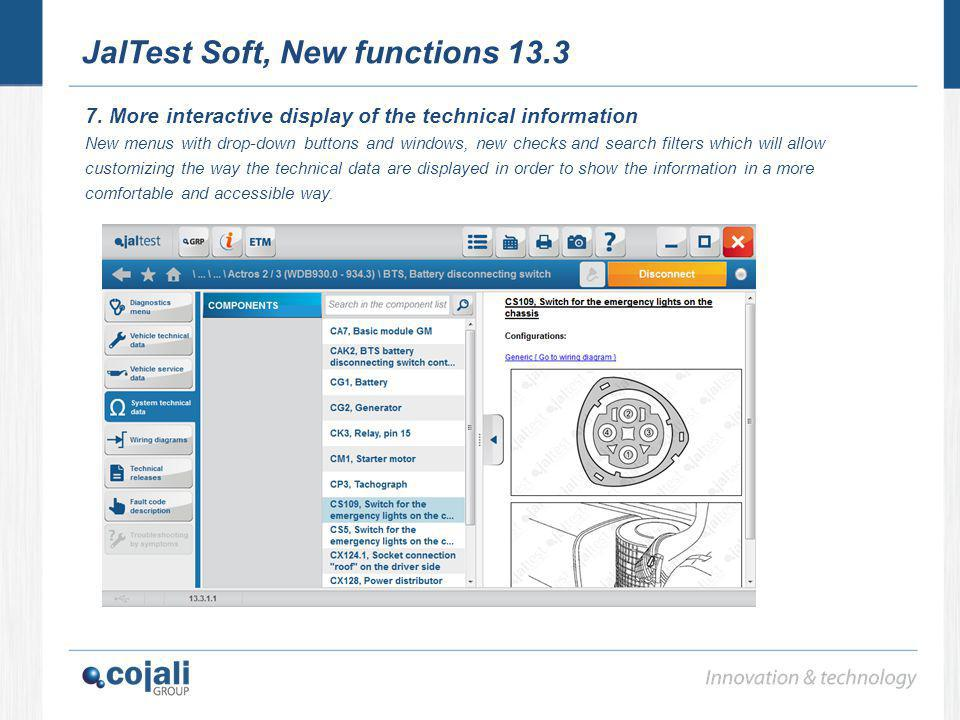 JalTest Soft, New functions 13.3 7. More interactive display of the technical information New menus with drop-down buttons and windows, new checks and